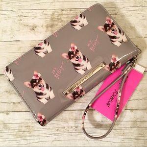 Betsey Johnson Zia Wallet Wristlet - Dog Design